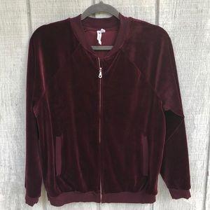 Cable & gauge velvet zip up jacket